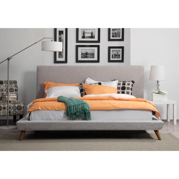 Nixon Mid century Beige Linen Bed Free Shipping Today Overstockcom 16842007