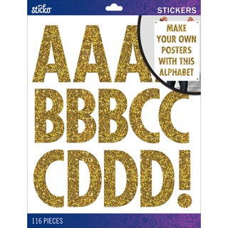 Sticko XL Alphabet Stickers-Gold Glitter Futura Regular XL