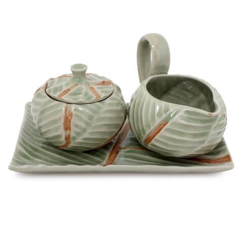 Handmade Celadon Set of 2 Ceramic Leaf Sugar Bowl and Creamer (Thailand)