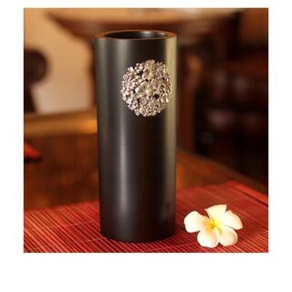 Handmade Mango Wood and Pewter Floral Bouquet Vase (Thailand)