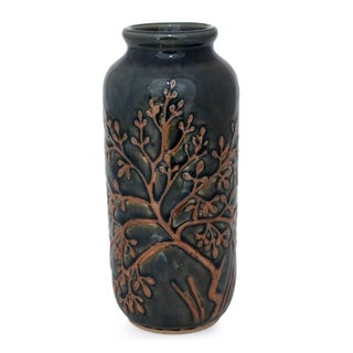 Handcrafted Celadon Ceramic Golden Tree Vase (Thailand)