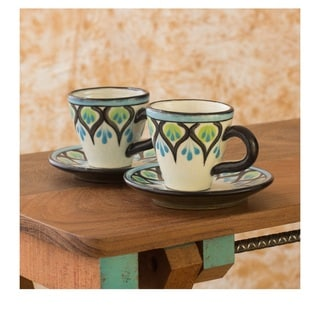Set of 2 Ceramic Owl Espresso Cups and Saucers (Guatemala)