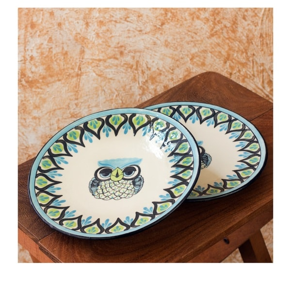 Set of 2 Handcrafted Ceramic Owl Plates (Guatemala)  sc 1 st  Overstock.com & Set of 2 Handcrafted Ceramic Owl Plates (Guatemala) - Free Shipping ...