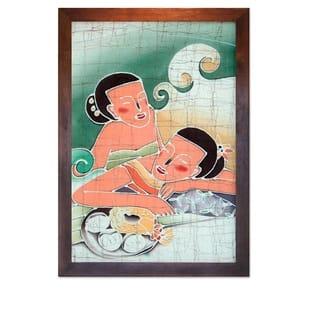 Handmade Cotton Friends Batik Art (Thailand) - Brown/Multi-color/beige