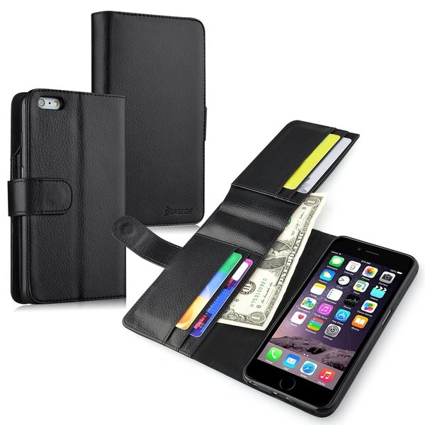 INSTEN Premium Black Leather Wallet Flap Pouch Phone Case Cover With Extra Card Slot For Apple iPhone 6 Plus 5.5-inch