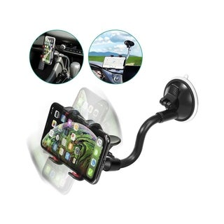Insten Black Universal 360-degree Adjustable Rotatable Car Mount 2.6-inch Phone Holder with Suction Cup