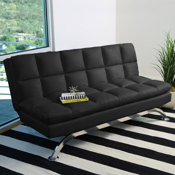 Shop Abbyson Vienna Bonded Leather Euro Futon Sofa On Sale Free