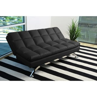 Abbyson Vienna Black Leather Euro Lounger Sofa