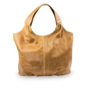 Handmade Leather Urban Honey Brown Hobo Handbag (Mexico)|https://ak1.ostkcdn.com/images/products/9661622/P16843312.jpg?impolicy=medium