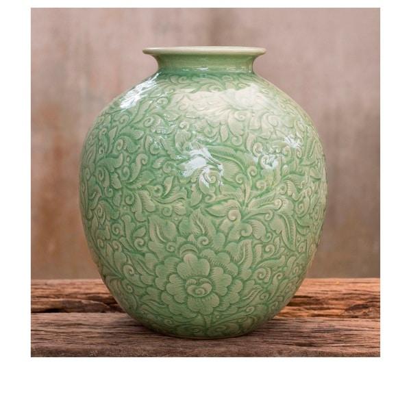 Handmade Celadon Ceramic Natural Illusion Vase (Thailand)