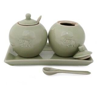 Set of 2 Celadon Ceramic 'Happy Elephant' Condiment Set (Thailand)