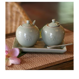 Set of 2 Celadon Ceramic 'Happy Elephant' Condiment Set (Thailand)