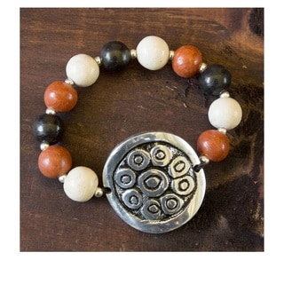 Handcrafted Ceramic 'Sun of Azacualpa' Beaded Bracelet (Honduras)