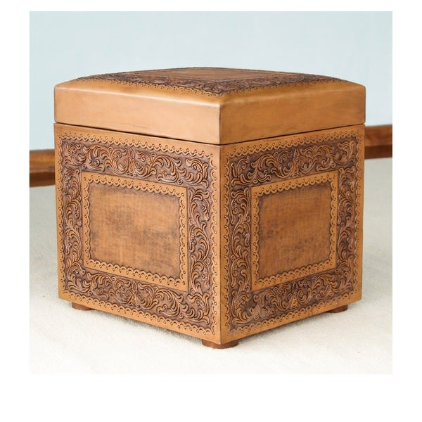Golden Colonial Ivy Decorator Accent Brown and Tan Handmade Leather with Padded Top Cube Storage Ottoman Pouf (Peru)