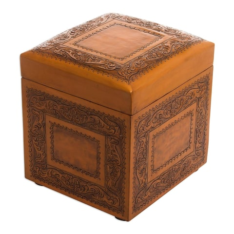 Golden Colonial Ivy Decorator Accent Brown and Tan Handmade Leather with Padded Top Cube Storage Ottoman Pouf