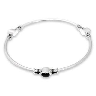 Handmade Sterling Silver 'Harmony Of Three' Onyx Bracelet (Indonesia) - Black