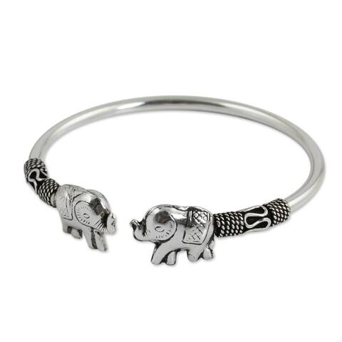 NOVICA Handcrafted Sterling Silver Proud Elephant Cuff Bracelet (10.80 gms) (Thailand)