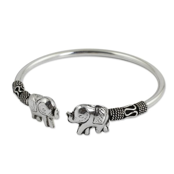 Handcrafted Sterling Silver Proud Elephant Cuff Bracelet (10.80 gms) (Thailand). Opens flyout.