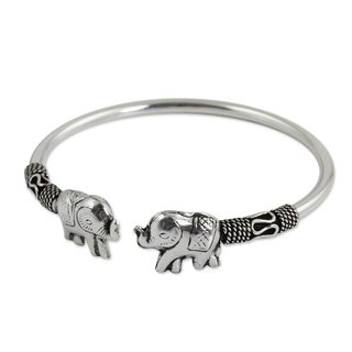Handcrafted Sterling Silver Proud Elephant Cuff Bracelet (10.80 gms) (Thailand)|https://ak1.ostkcdn.com/images/products/9661640/P16843328.jpg?_ostk_perf_=percv&impolicy=medium