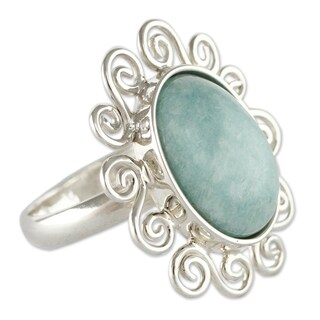 Handmade Sterling Silver 'Ocean Bloom' Amazonite Cocktail Ring (Peru) - Blue