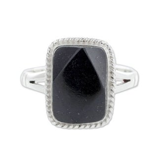 Sterling Silver 'Black Maya Princess' Black Jade Ring (Guatemala)