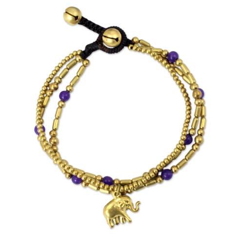 Handmade Brass Purple Elephant Charm Bracelet (Thailand)