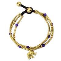 Handmade Brass 'Purple Elephant Charm' Quartz Bracelet (Thailand)