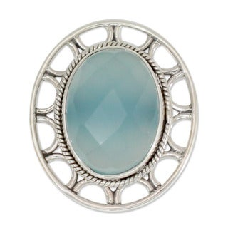 Handmade Sterling Silver 'Mumbai Sky' Chalcedony Cocktail Ring (India)