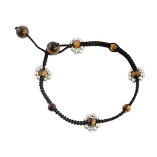 Handcrafted Tiger's Eye 'Blossoming Quartet' Flower Anklet (India)