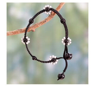 Handmade Sterling SIlver 'Blossoming Quartet' Onyx Anklet (India)