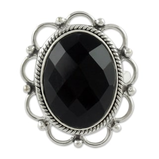 Handmade Sterling Silver 'Midnight Blossom' Onyx Ring (India)