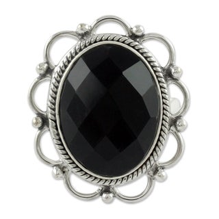 Handcrafted Sterling Silver 'Midnight Blossom' Onyx Ring (India)