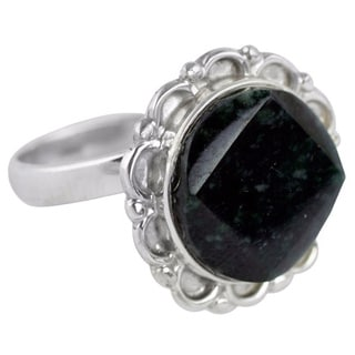 Sterling Silver 'Dark Forest Moon' Jade Ring (Guatemala)