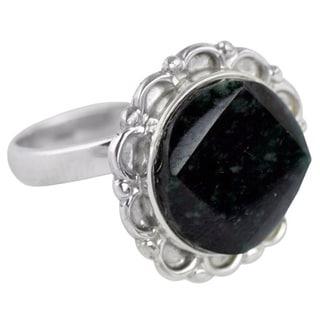 Handmade Sterling Silver 'Dark Forest Moon' Jade Ring (Guatemala)