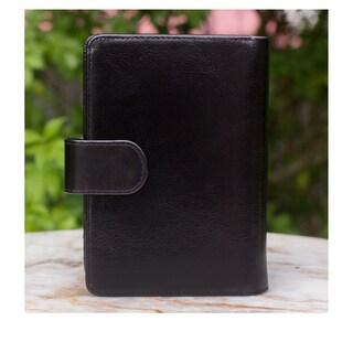 Handmade Leather 'Deep Black Voyages' Passport Holder (Thailand)