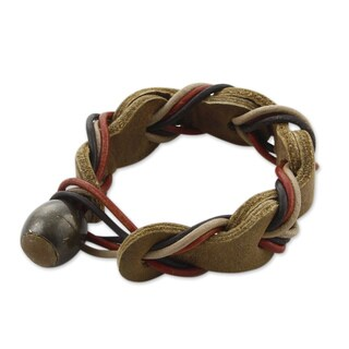 Handmade Braided Leather 'Crazy About You' Bracelet (Mexico)