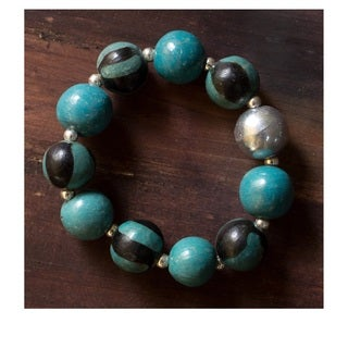 Handcrafted Ceramic 'Lenca Moon' Stretch Bracelet (Honduras)