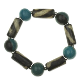 Ceramic Pewter 'Azacualpa Blue' Beaded Bracelet (Honduras)