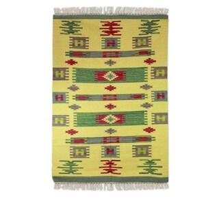 Handmade Tribal Sunshine Dhurrie Wool Rug 4 x 6 Ft (India) - 4' x 6'