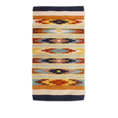 Handmade Star Flowers I Zapotec Wool Rug - 2'6 x 5' (Mexico)
