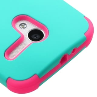 INSTEN Teal/ Hot Pink Tuff Dual Layer Hybrid Rubberized Hard PC Silicone Phone Case Cover
