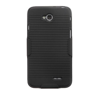 INSTEN Black Hybrid Rubberized Matte Phone Case Cover With Holster For LG Optimus Exceed 2 VS450PP/ Optimus L70 MS323