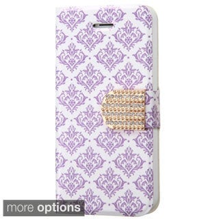 INSTEN Pattern Leather Wallet Folio Book-Style Flip Stand Phone Case Cover With Diamond For Apple iPhone 5/ 5S