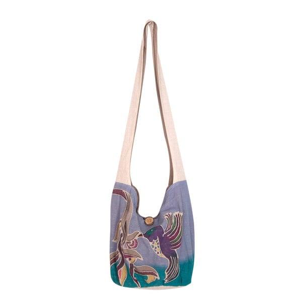 Handmade Cotton Batik 'Thai Hummingbird' Sling Bag (Thailand). Opens flyout.
