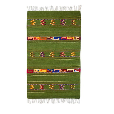 Handmade Zapotec Wool 'Zapotec Forest' Rug (2.6x5) (Mexico) - 2.6x5