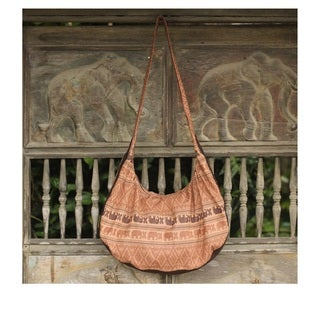 Cotton 'Thai Fantasy In Brown' Shoulder Bag (Thailand)