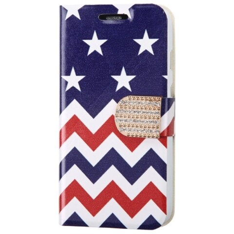 INSTEN Stars Wave Leather Wallet Folio Book-Style Flip Stand Phone Case Cover With Diamond For Motorola Moto G