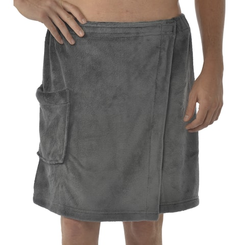 Leisureland Men's Coral Fleece Spa Wrap