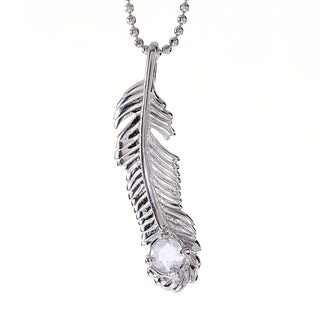 Rhodium-plated Sterling Silver Clear Quartz April Birthstone Feather Necklace