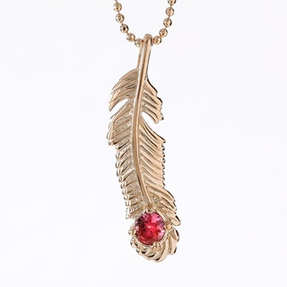 18k Gold-plated Sterling Silver Tourmaline October Birthstone Feather Necklace